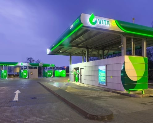 Petrol station containers